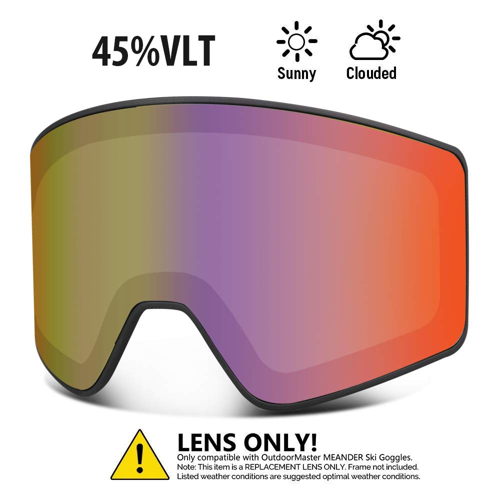 OutdoorMaster Cylindrical Style Replacement Lens - Anti-Fog & 100% UV400 Protection - for Men, Women & Youth - VLT 45% Fuchsia