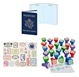 William & Douglas Travel Theme Party Favors Bundle | Around The World Passports, Passport Stickers & Passport Stampers