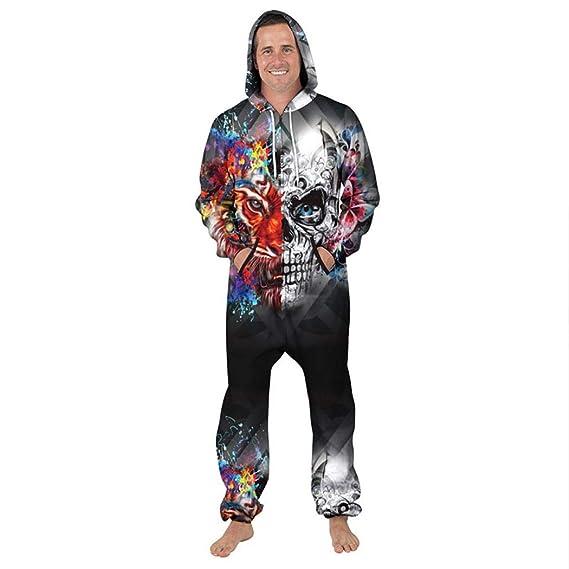 58cf697f6 SBOYS Mens Graphic Onesie Hooded Zip Onesies Playsuit All in One Piece  Jumpsuit Adult Onesie 3D Print Hoodie: Amazon.co.uk: Clothing