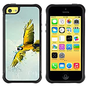 LASTONE PHONE CASE / Suave Silicona Caso Carcasa de Caucho Funda para Apple Iphone 5C / Parrot Yellow Flying Art Rainforest Blue Sky