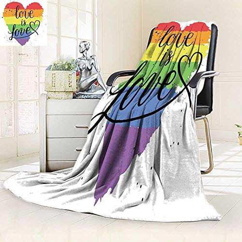 (YOYI-HOME Luminous Microfiber Throw Duplex Printed Blanket LGBT Gay and Lesbian Pride Greeting Cards he s Rainbow on Valentine Day Soft and Durable Polyester/86.5