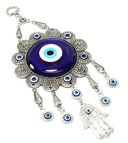 Turkish Blue Evil Eye (Nazar) Flower Hamsa Hand Amulet Wall Hanging Home Decor Protection Good Luck Blessing Housewarming Birthday Gift US Seller ()