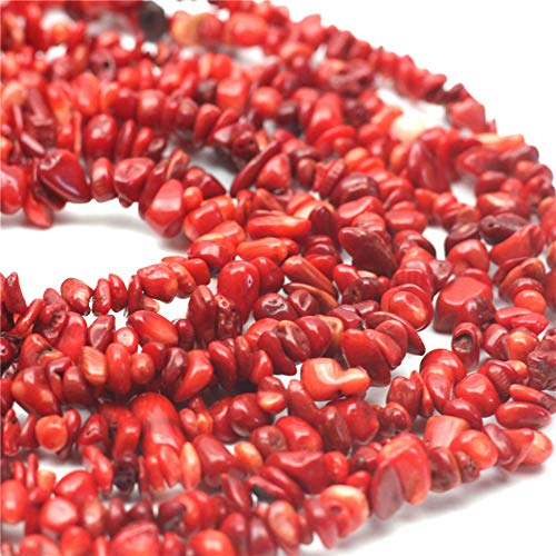 Red Coral Bracelet Chip (Oameusa 5-7mm Agate Chips Coral Agate Chips Agate Beads Gemstone Beads Loose Beads Agate Beads for Jewelry Making 34