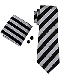 Mens Classic Stripe Tie Set for Men Silk Woven
