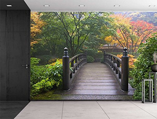 Bridge on a Japanese Garden Surrounded by Trees Wall Mural