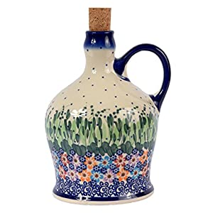 Traditional Polish Pottery, Handcrafted Ceramic Olive Oil or Vinegar Bottle with Handle (1000ml), Boleslawiec Style Pattern, V.601.Daisy