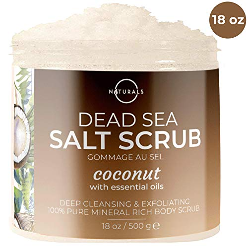 O Naturals Exfoliating Coconut Dead Sea Salt Body Scrub. Deeply Moisturizing & Skin Smoothing. Brightens Skin, Treats Acne, Cellulite & Stretch Marks. Essential Oils, Sweet Almond & Argan. 18 Oz