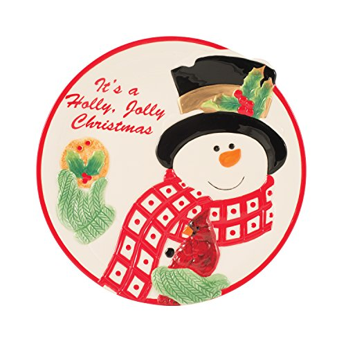 - Holly Berry Snowman Collection, Cookie Plate, Red/White