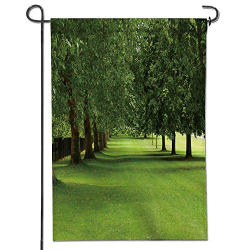Celebrate Patriotic Garden FLagparallel rows of sycamore and horse chestnut trees in full leaf on a windy summer s day in a green Decorative Double Sided Flag for Anniversary Decor 12