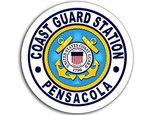 MAGNET 4x4 inch Round Coast Guard Station Pensacola Logo Sticker (USCG Navy fl) Magnetic vinyl bumper sticker sticks to any metal fridge, car, signs ()