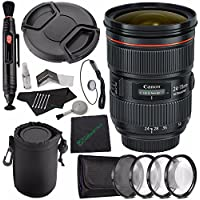 Canon EF 24-70mm f/2.8L II USM Lens + 82mm +1 +2 +4 +10 Close-Up Macro Filter Set with Pouch + LENS CAP 82MM + SLR Lens Pouch + Lens Pen Cleaner + Microfiber Cleaning Cloth + Lens Cap Keeper Bundle
