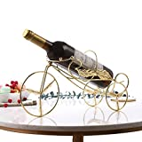 QIANGZI Small Decor Wine bottle holder Racks Modern Gold Storage Shelf Stainless Steel Countertop Free Standing Living Room Kitchen Home(Bicycle) (Color : Gold)
