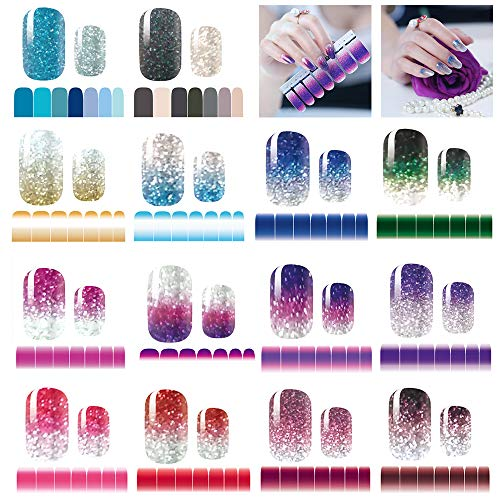 14 Sheets Nail Stickers Glitter Gradient Color Shine Full Wraps Polish Stickers Strips Self-Ashesive Nail Art Sets for Women Girls