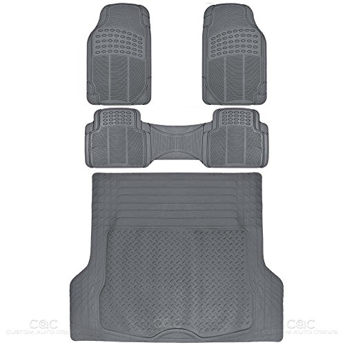 BDKProLiner Gray All Weather Rubber Auto Floor Mats & Cargo Liner - Heavy Duty 4pc Set ()