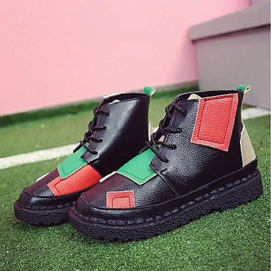 Zapatos Mujer UK4 Cowboy Casual Invierno RTRY EU37 Toe Para 7 Talón Botines 5 CN37 Plano Sonrojarse Botas Ronda De Botas Botines 5 5 Pu Lace US6 Up Confort Western E4xYdHw