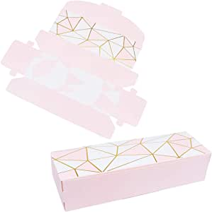 Amosfun 20 pcs Cookie Packaging Box Treats Gift Boxes Rectangular Party Favor Boxes for Packing Wedding Cake Slices, Cookies, Candy Favors and More To Take Home (Geometry)