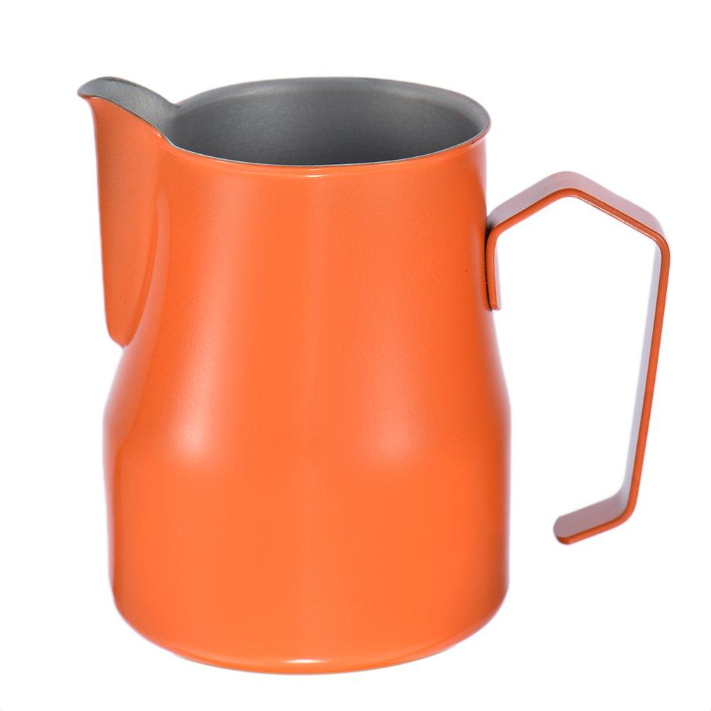 350ML Milk Frothing Pitcher Stainless Steel Milk Cup Milk Pitcher Jug Milk Bubble Foam Pitcher Cup Orange zsl