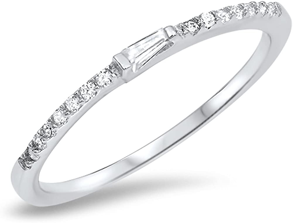 Stackable Eternity CZ Promise Ring  .925 Sterling Silver Size 3 to 12 NEW