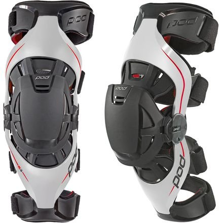 Motocross Knee Braces - POD Unisex-Adult K4 Knee Brace (Gray/Red, Medium/Large)