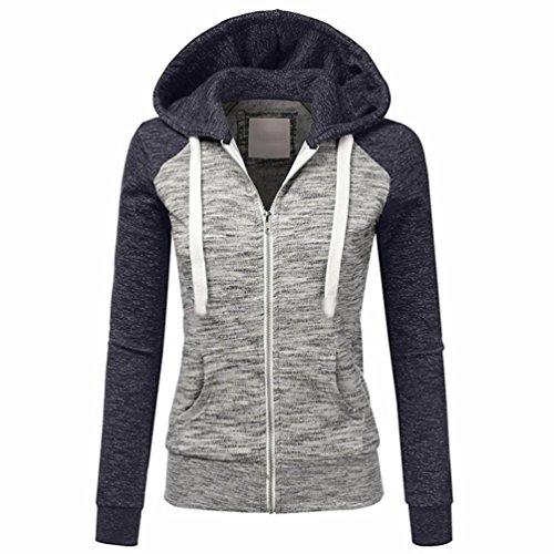 Dinglong Womens Ladies Spring Autumn Lightweight Hooded Sweatshirt Overcoat Long Sleeve Thin Zip Up Cotton Contrast Hood Hoodies Jacket Coat Navy