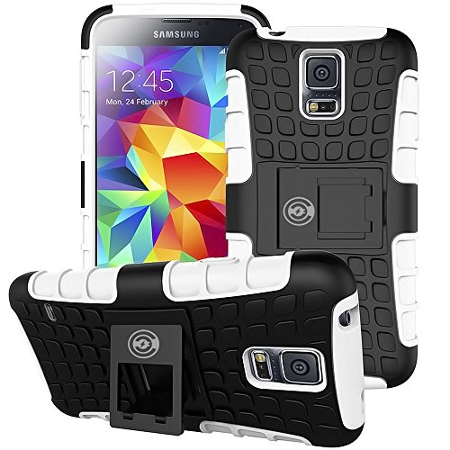 Galaxy s5 Case, [Heavy Duty] Galaxy s5 Armor cases- [Eternity Series] Tough [Rubber] Rugged Shockproof Dual Layer Hybrid Hard/Soft Slim Protective Case (For the Galaxy S5) by Cable and Case - (White) (Monsters Inc Phone Case Galaxy S5)