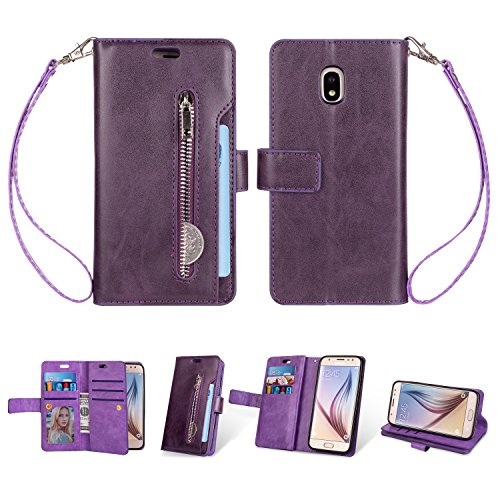 - Galaxy J3 2018 Wallet Case, Folice [Magnetic Closure] 9 Card Slots, PU Leather Kickstand Wallet Cover Durable Flip Case for Samsung Galaxy J3 Star/ J3 Achieve/Express Prime 3/ Amp Prime 3 (Violet)