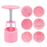 : Hand Press Moon Cake Mold Cookie Stamps Pastry Tool - 6 Flower Patterns