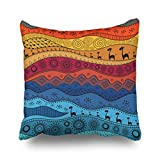Home Decor Throw Pillow Covers African Ethno Tribal Africa Textures Boho Pattern Square Size 20 x 20 inches Design Pillowcases Decorative Zippered Cushion Cases