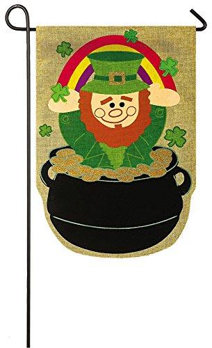 Evergreen Lucky Leprechaun Burlap Garden Flag, 12.5 x 18 inc