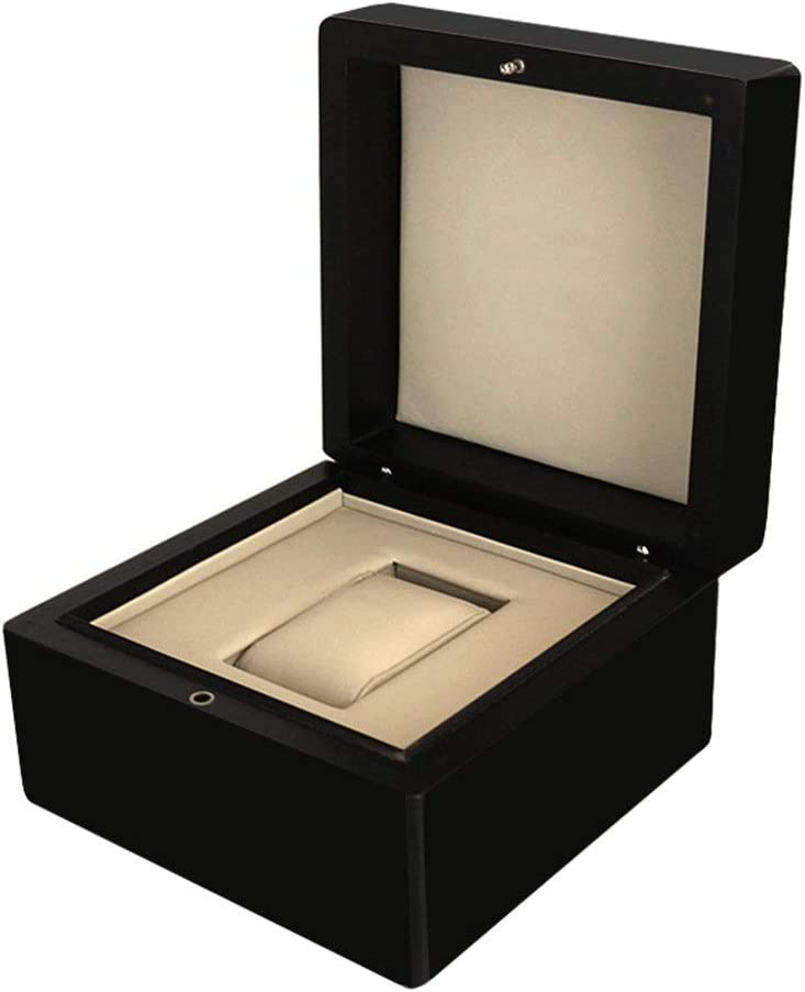 Wguili Caja de Reloj Piano Pintura joyería de Madera Caja de Madera PU Interior de la Caja del Reloj Ideal para su Uso Personal o Tienda de Reloj (Color : Black, Size :