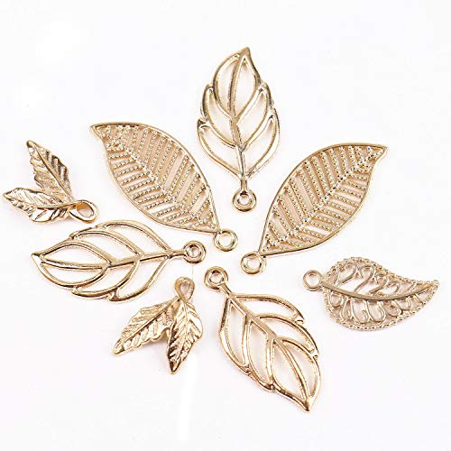- Pomeat 80pcs Gold Mixed Leaf Charms Pendant Leaf Charms Beads for DIY Jewelry Findings