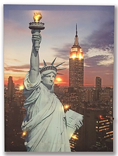 Hong Art LED Wall Art The Statue of Liberty Framed Picture Lighted New York City Canvas Prints for Home Decoration-12x16 Inch HA-17-CP-053 (Art Led Lighted Framed)