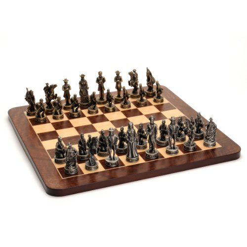 Wood Expressions WE Games Civil War Chess Set - Pewter Pieces & Walnut Root Board 16 in.