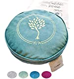 MV Joie Zafu Yoga Meditation Cushion Filled with Buckwheat Hulls & Charcoal Packs | Yoga Pillow in Soft Velvet/Suede…