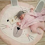 HILTOW Kids Nursery Rug Children Play Mat Round Carpet Cartoon Rabbit Design Home Room Decor(Size:35X37 inches)