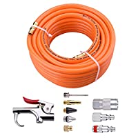 """3/8""""×50ft PVC Air Hose With 10 Piece Air tool and Accessory Kit With Blow Gun/ Air Coupler(WYNNsky 300PSI)"""