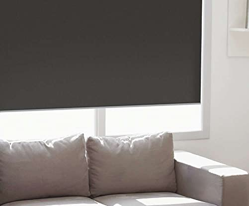 Windowsandgarden Custom Roller Shades, Any Size 19-96 Wide, 95W x 49H, Reminiscent Blackout Linen