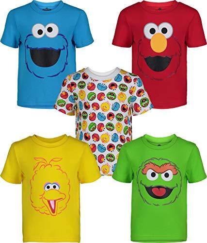 Sesame Street Toddler Boy Girl 5 Pack T-Shirts Elmo Oscar Big Bird Cookie Monster (2T)
