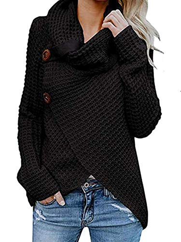 Famulily Women Black Cowl Neck Sweater Loose Cozy Warm Waffle Knitted Wrap Sweater Tops M