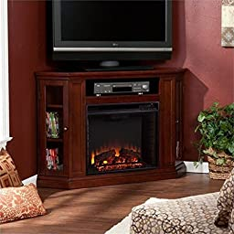 Pemberly Row Convertible Electric Fireplace Cherry