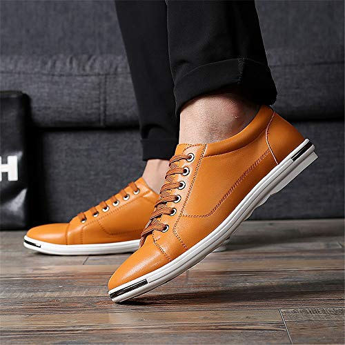 Casual Summer Men's Shoes Breathable Another Leather Sneakers Yellow Fashion xTAq44w