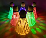 Across Land LED Badminton Shuttlecocks Birdies 6 Pack Goose Feather Glow in The Dark Lighting for Outdoor/Indoor Sports