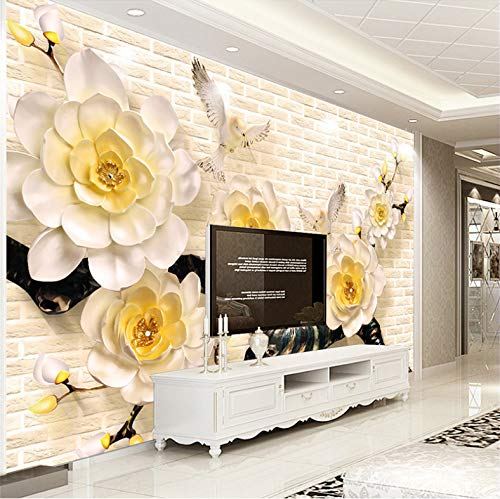3D Wall Murals Wallpaper Decorations Stickers White Plum Blossom Flower Living Room Sofa Background Art Kids Room (W)200x(H)140cm (Color What Are Blossoms Plum)