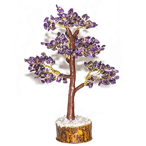 YATHABI Amethyst Feng Shui Gemstone Healing Crystal Money Tree Bonsai Fortune for Good Luck, Wealth Prosperity Spiritual Gift & Home Decor Golden Wire (Size:- 10-12 ()