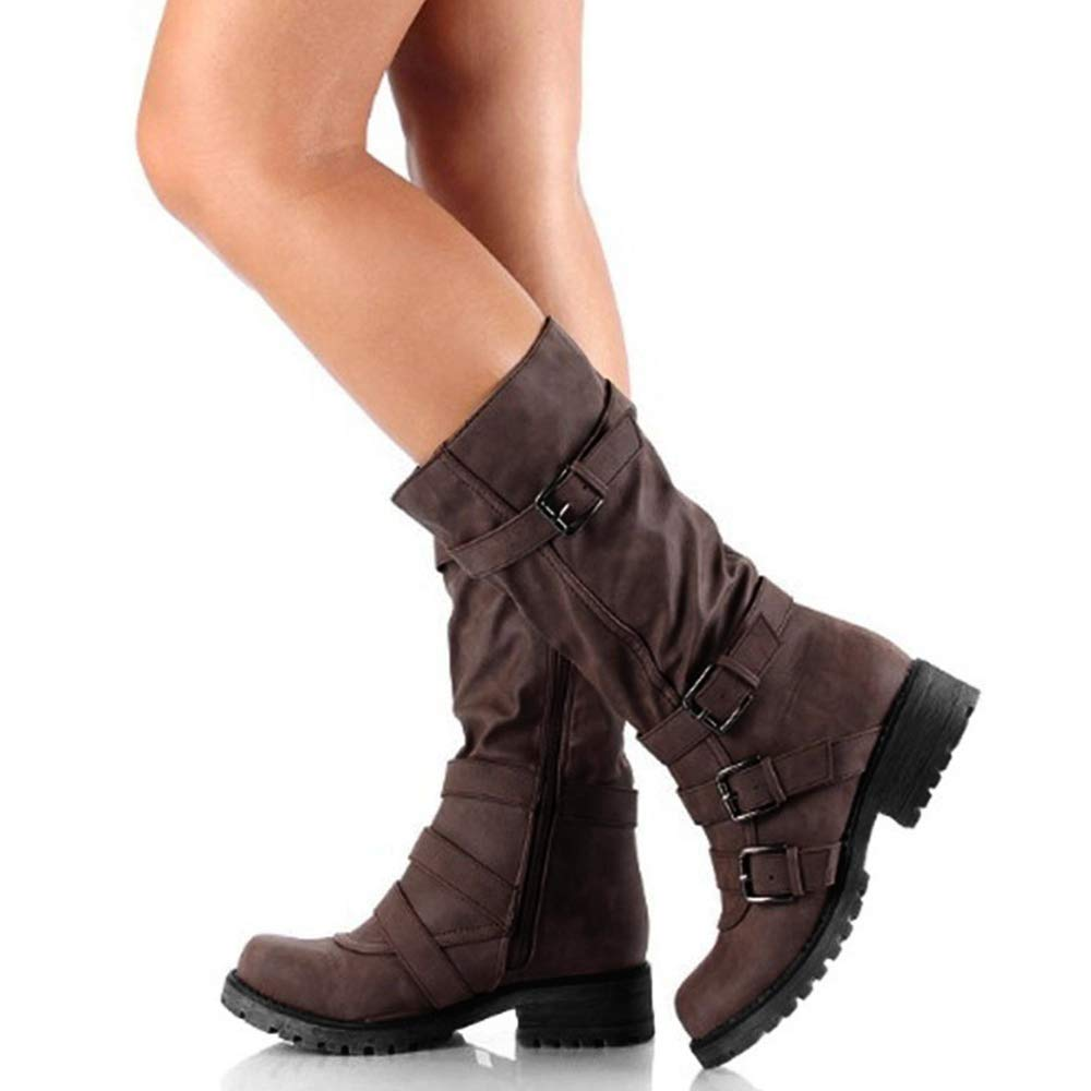 Hunleathy Women's Mid Calf Boots Buckles Combat Riding Boots Size 10.5 Brown