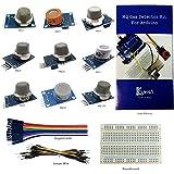 Keywish Gas Sensors Detect Moudle Air Quality Detector Motion Kit For Arduino UNO R3 Mega2560 Raspberry Pi Starter Beginners Kit MQ-2 MQ-3 MQ-4 MQ-5 MQ-6 MQ-7 MQ-8 MQ-9 MQ-135 With Tutorial Book