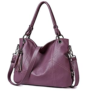 Lustear Soft Leather Handbag Hobo Style Purse Tote Shoulder Bag with Tassel For Women (Purple)