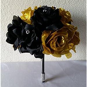 Black Gold Rhinestone Rose Bridal Wedding Bouquet & Boutonniere 38