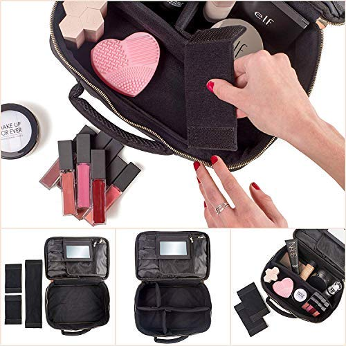 98104fbec5c8 habe Travel Makeup Bag with Mirror - Premium Vegan Designer Make Up Bag  Organizer Train Case for Women – More Storage than 3 Cosmetic Bags
