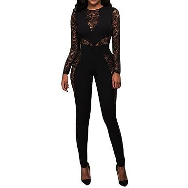 6091b09c6e43 VENMO Women Sexy Lace Mesh Jumpsuit Pants Ladies Long Sleeve Zip Playsuit  Trouser Clubwear (S